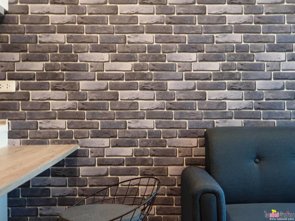 เพิ่มความน่าสนใน Loft Style Wallpaper ลายอิฐ สีเทา Zelle รัตนาธิเบศร์